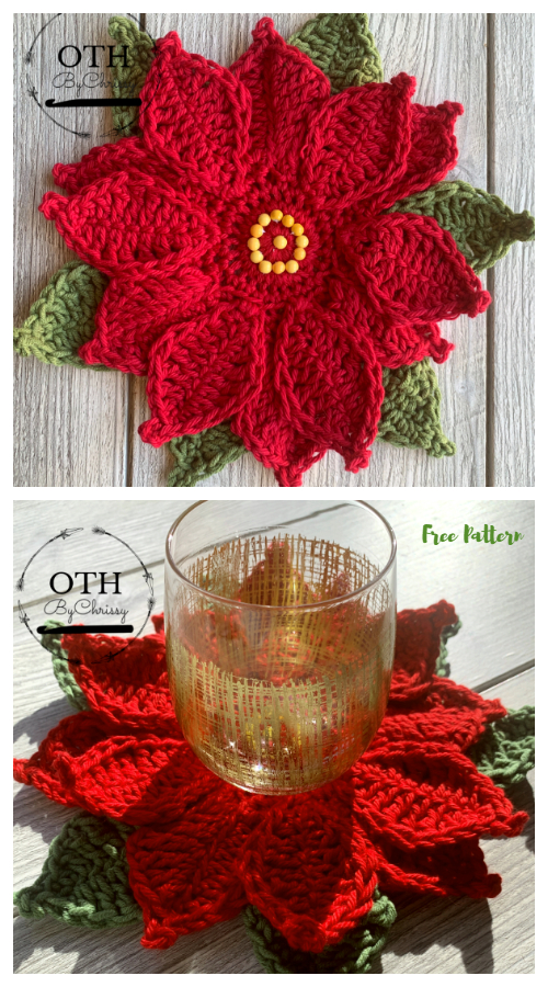 Christmas Poinsettia Coaster Free Crochet Patterns