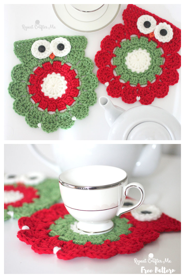 Christmas Owl Coaster Free Crochet Patterns
