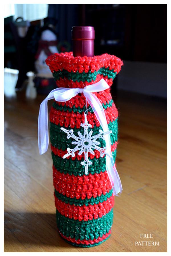 Happy Wine Bottle Cozy Free Crochet Patterns