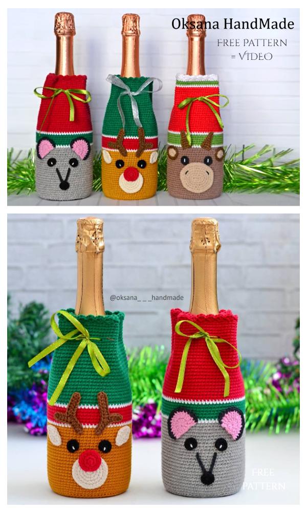 Bull Wine Bottle Cozy Free Crochet Pattern + Video