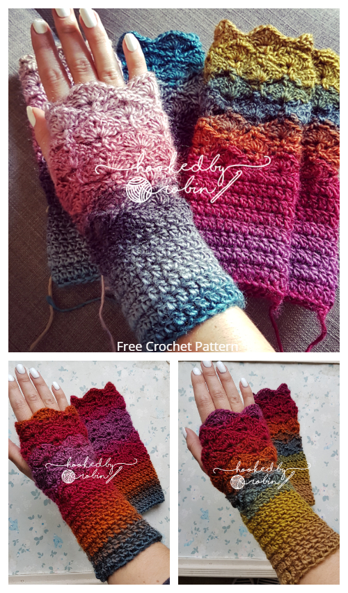 Fantail Stitch Fingerless Gloves Free Crochet Patterns