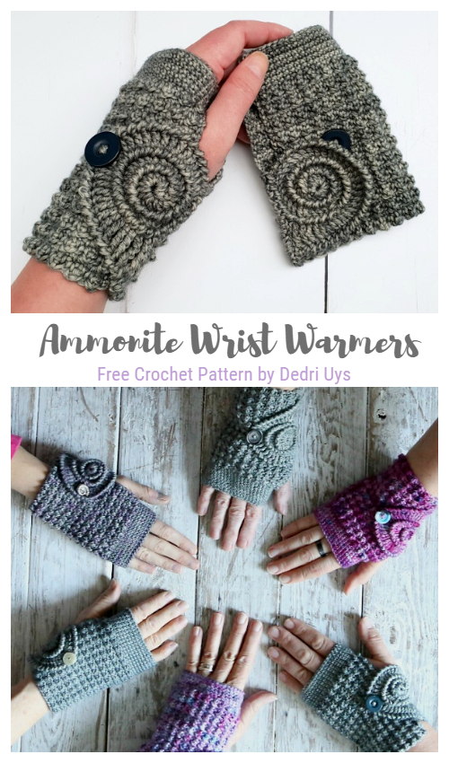 Ammonite Wrist Warmers Free Crochet Patterns