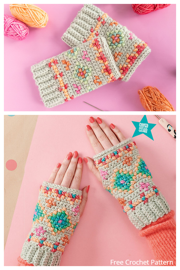 Hygge Embroidered Wristies Fingerless Gloves Free Crochet Patterns
