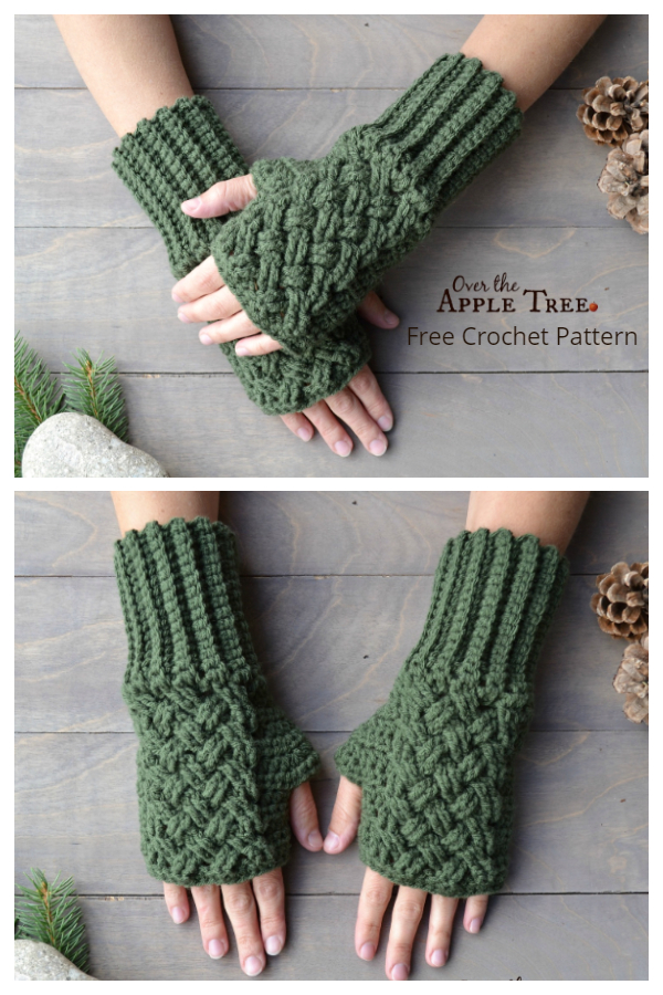 Celtic Weave Fingerless Gloves Free Crochet Patterns