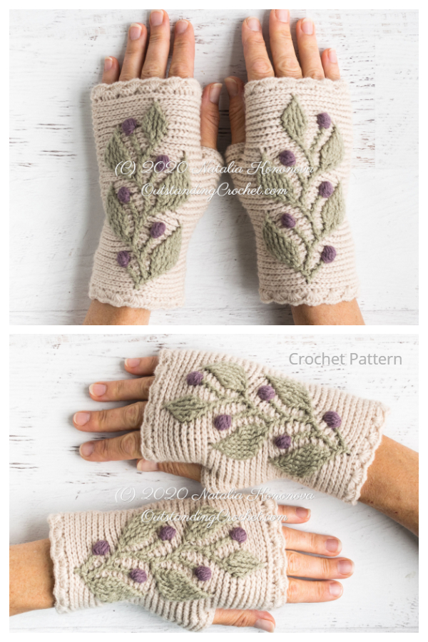 Hedera Wrist Warmers Crochet Patterns