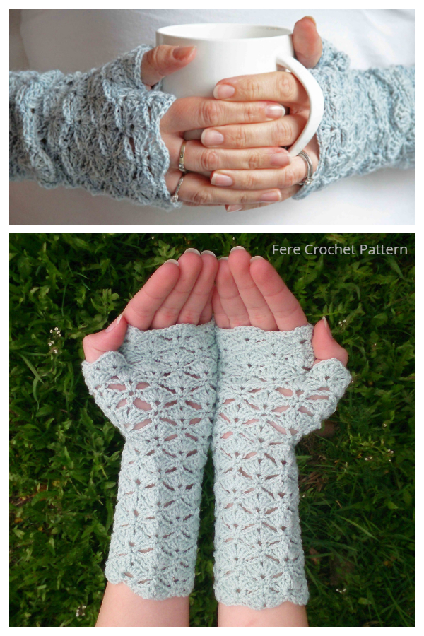Dashing Shell Fingerless Gloves Free Crochet Patterns