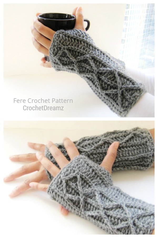 Adeline Faux Cable Fingerless Gloves Free Crochet Patterns