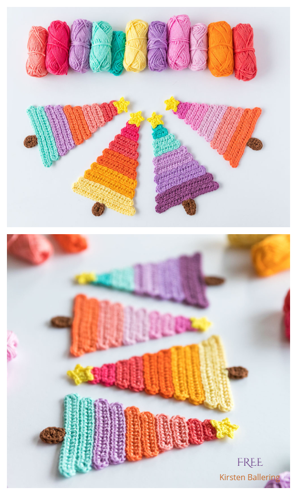Ice Pop Christmas Trees Applique Free Crochet Patterns