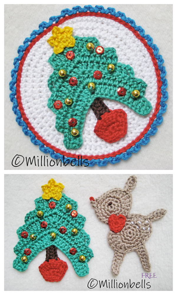 Flat Christmas Tree Applique Free Crochet Patterns