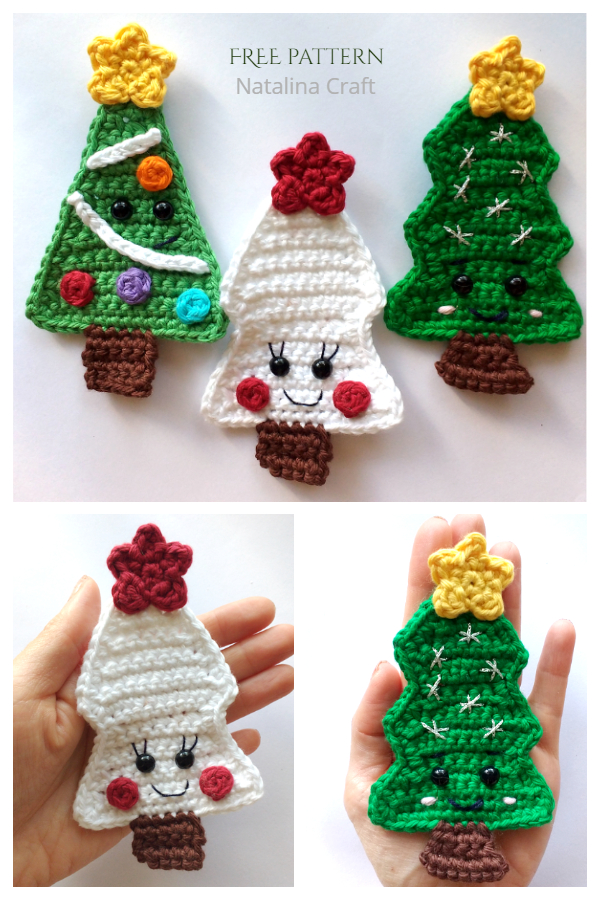 Cute Christmas Tree Applique Free Crochet Patterns