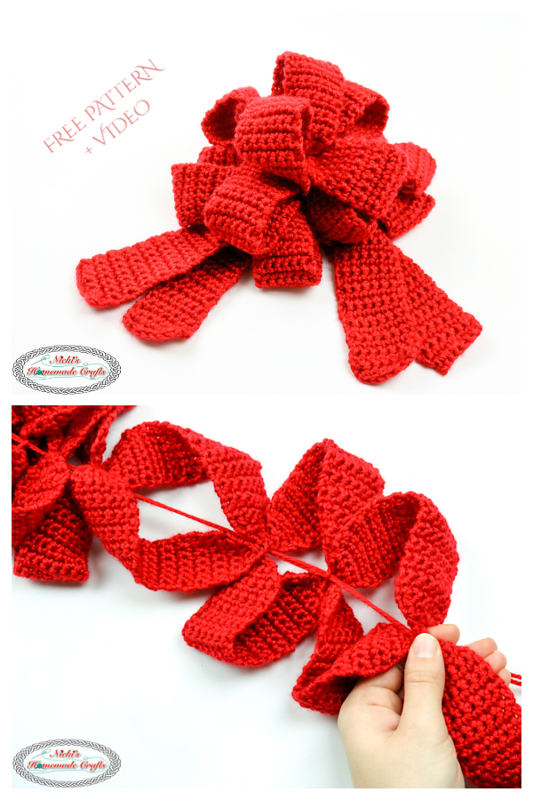 Pull String Gift Bow Free Crochet Pattern + Video