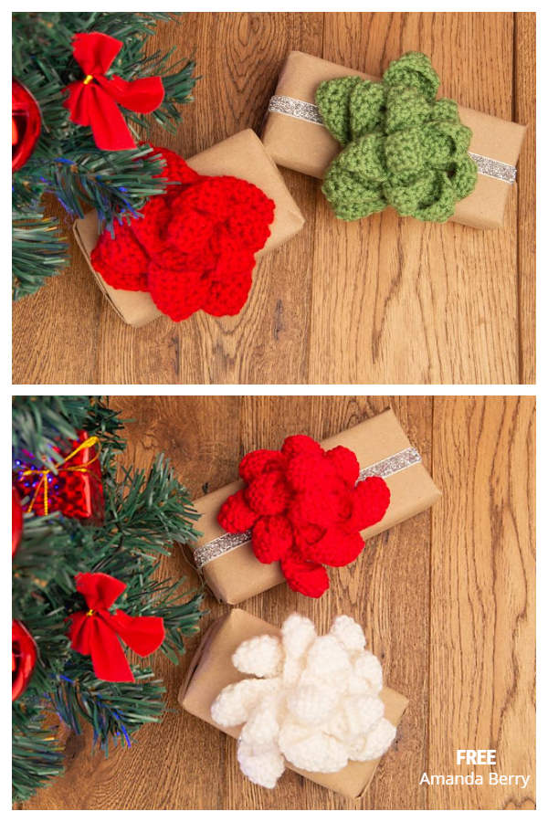 Christmas Present Gift Bow Free Crochet Patterns