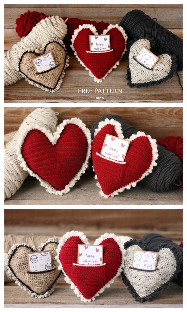 Heart Pillow with Pocket Free Crochet Patterns