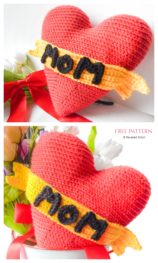 I Heart Mom Tattoo Pillow Free Crochet Patterns