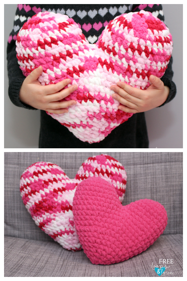 Heart Pillow Free Crochet Patterns