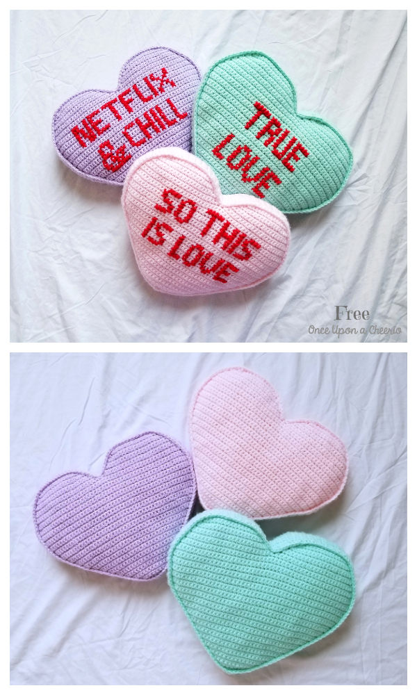 Candy Heart Pillow Free Crochet Patterns