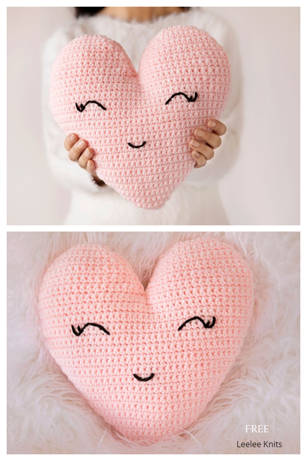 Heart Shaped Pillow Free Crochet Patterns