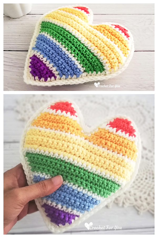 Rainbow Heart Pillow Free Crochet Patterns