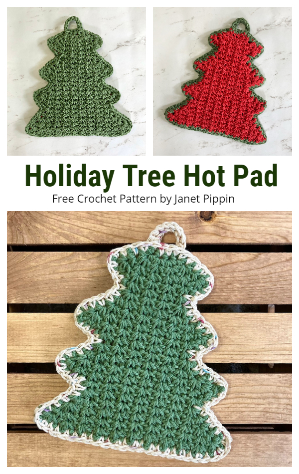 Holiday Tree Hot Pad Free Crochet Pattern