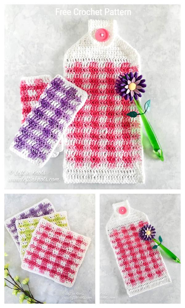 Spring Gingham Hand Towel Free Crochet Patterns