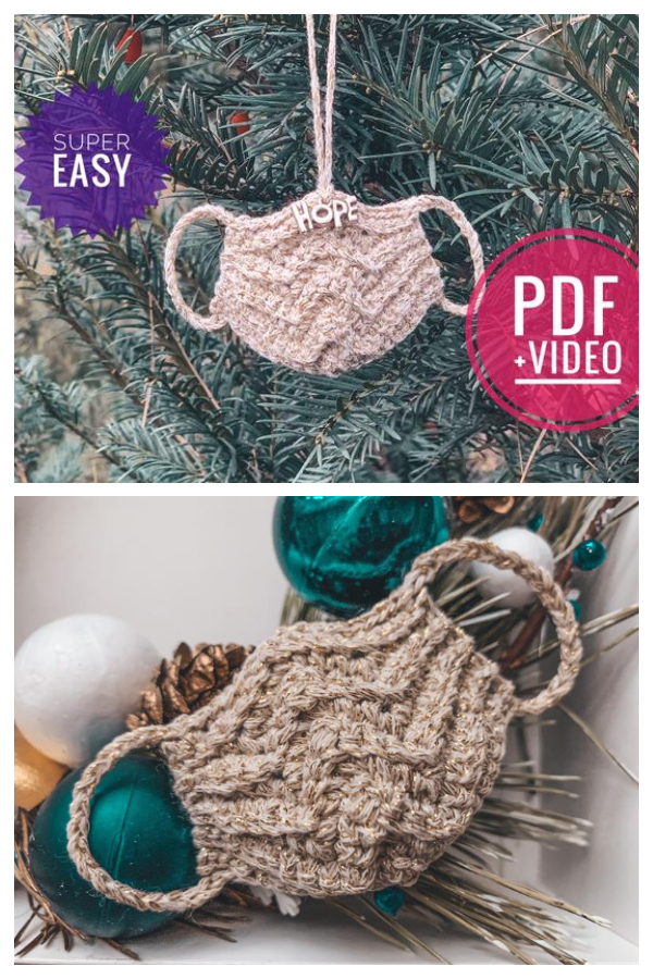 Mini Face Mask Quarantine Christmas Ornaments Crochet Patterns