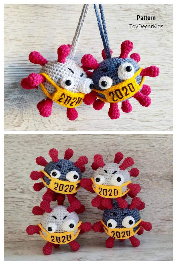 Virus in Mask Quarantine Christmas Ornaments Crochet Patterns