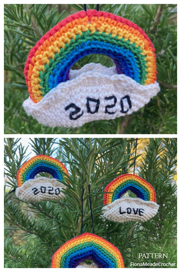 Rainbow Quarantine Christmas Ornaments Crochet Patterns