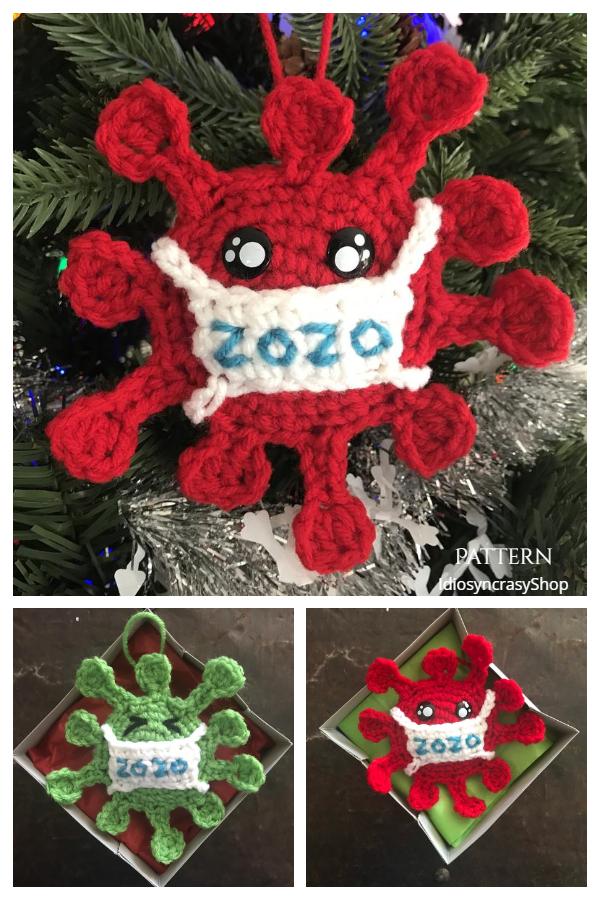2020 Coronavirus Quarantine Christmas Ornaments Crochet Patterns