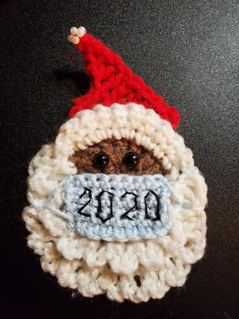 Santa with Mask Quarantine Christmas Ornaments Crochet Patterns