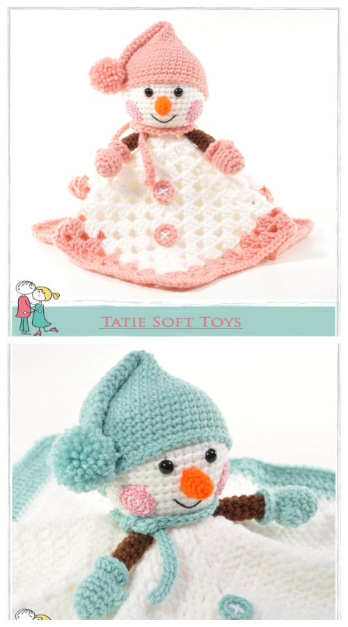 Snowman Lovey Security Blanket Crochet Patterns