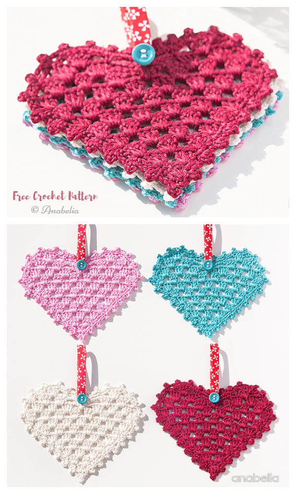 Valentine Granny Heart Coaster Free Crochet Patterns