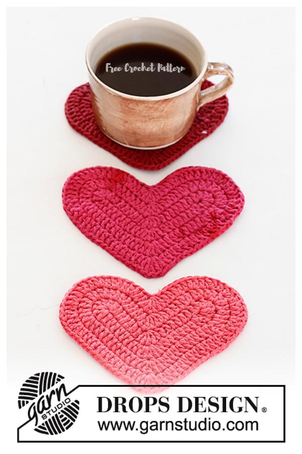 Achy Breakfasty Heart Coaster Free Crochet Patterns