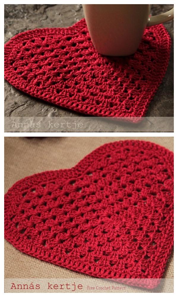Valentine With love Granny Heart Coaster Free Crochet Patterns
