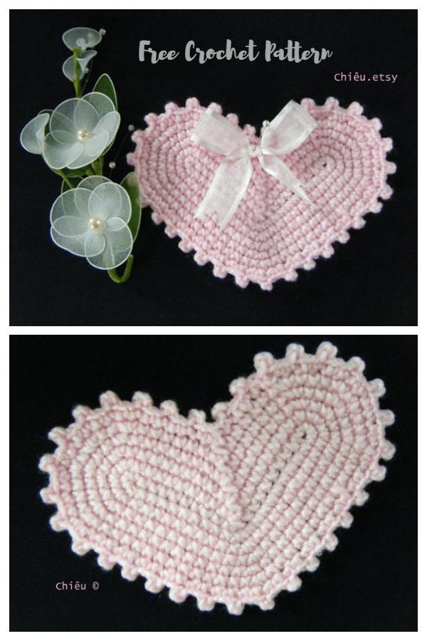Valentine Heart Coaster Free Crochet Patterns