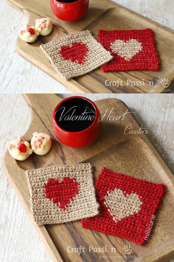 Valentine Heart Square Coaster Free Crochet Patterns