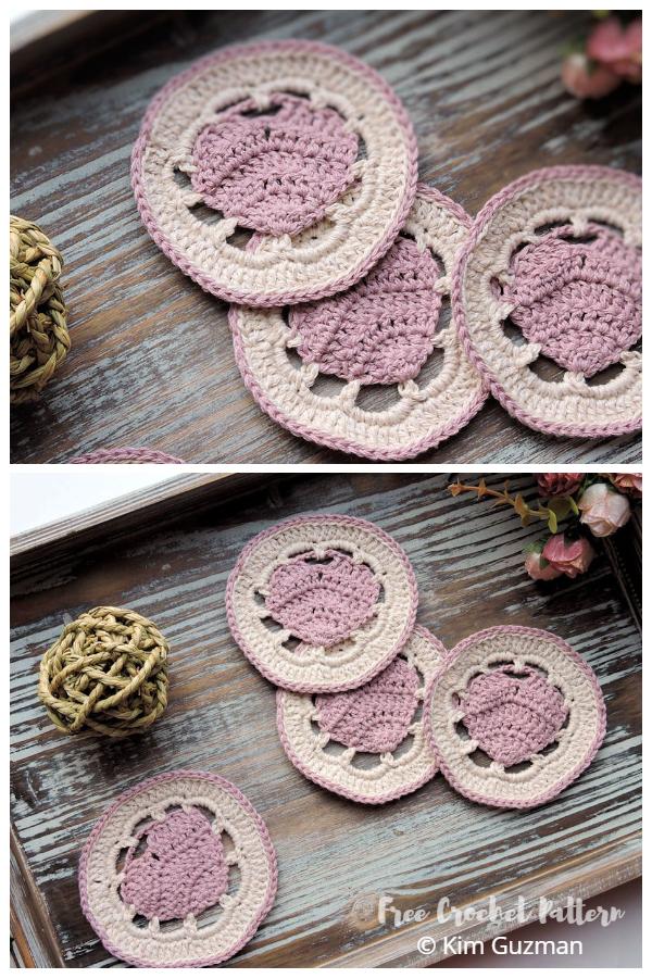 Valentine Belle Heart Coaster Free Crochet Patterns