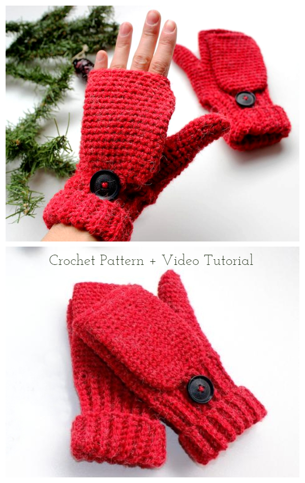 Easy Convertible Fingerless Gloves  Crochet Pattern + Video