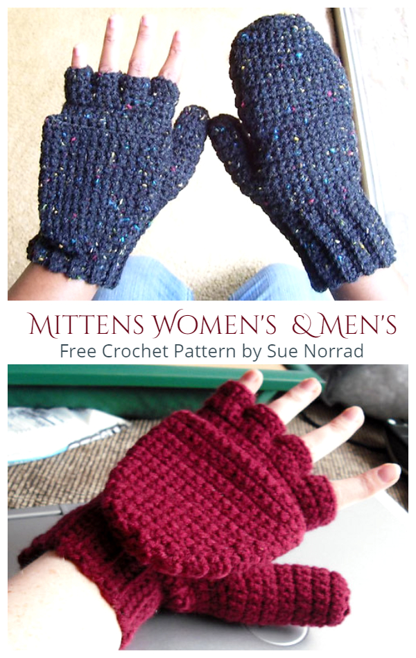 Easy Convertible Mittens Free Crochet Patterns