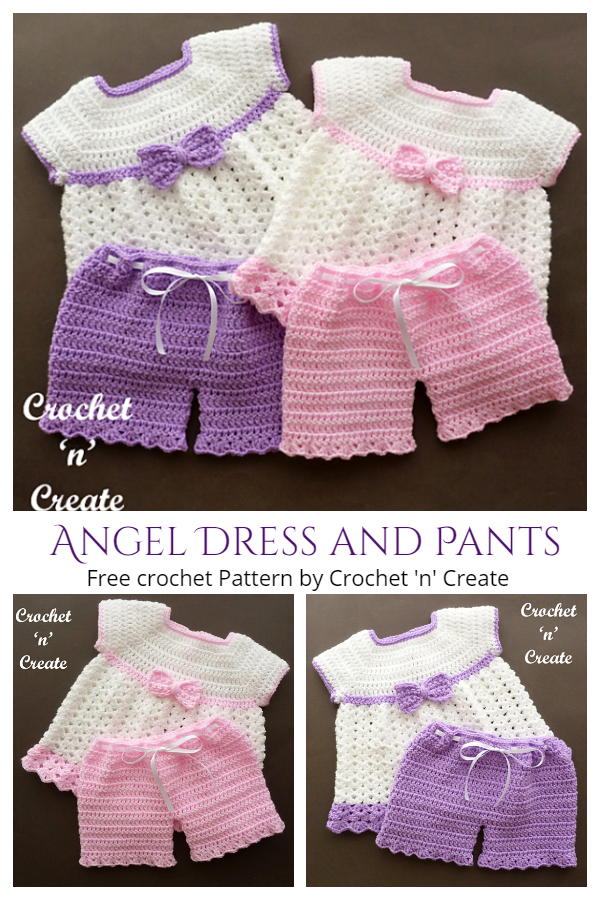 Angel Dress and Pants Set Free Crochet Patterns