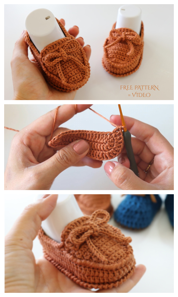Bow Baby Loafer Booties Free Crochet Patterns + Video