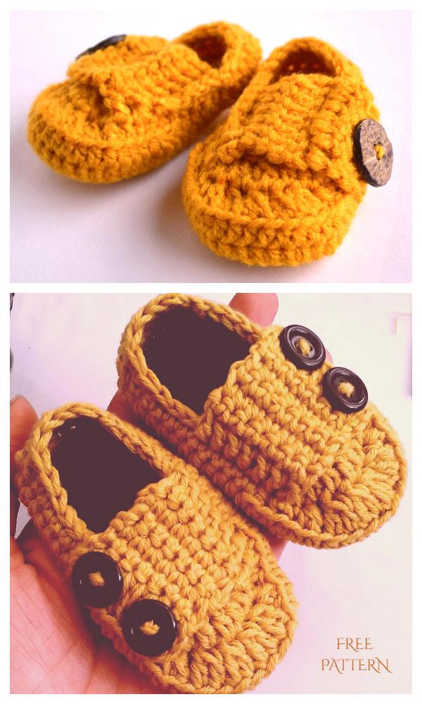 Little Man Button Loafers Free Crochet Patterns