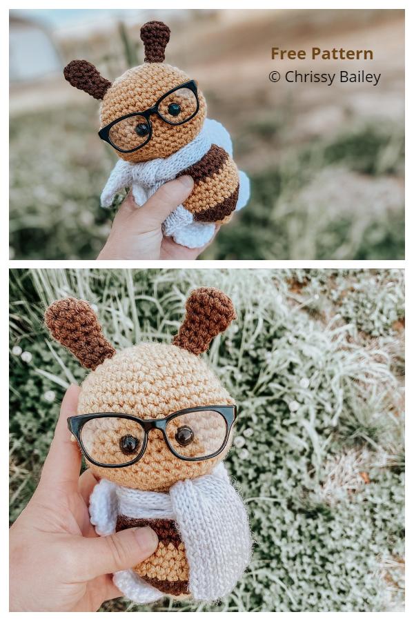 Crochet Bumblebee with Glasses Amigurumi Free Patterns