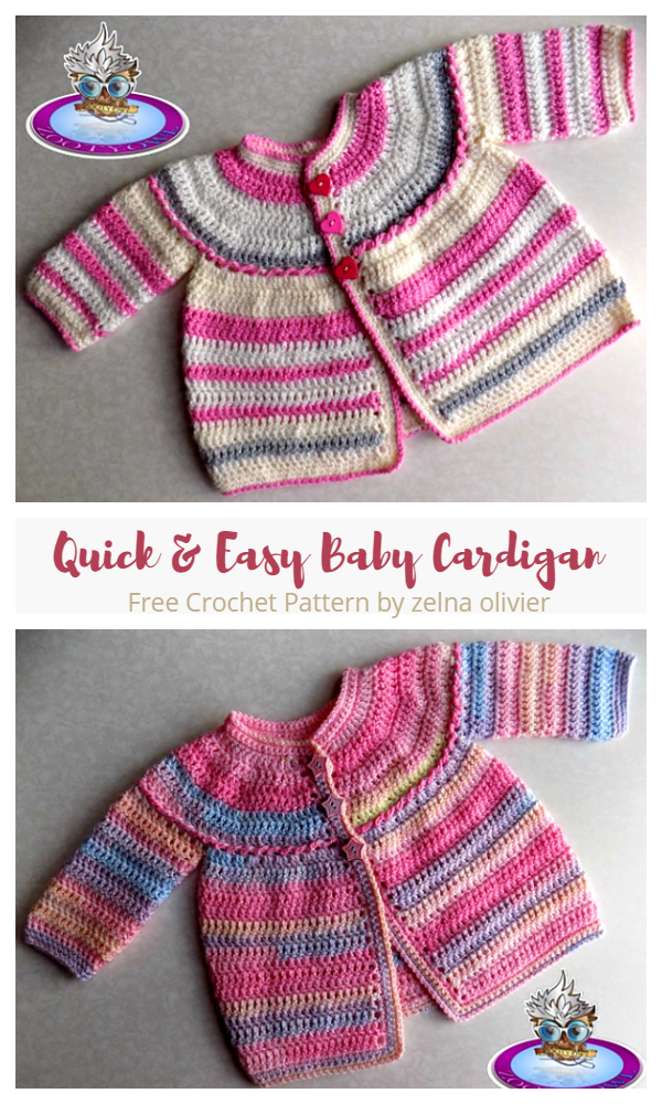 Quick and Easy Baby Cardigan Free Crochet Patterns