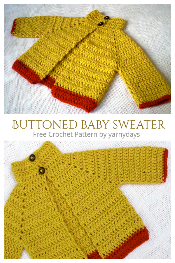 Easy Buttoned Baby Cardigan Free Crochet Patterns