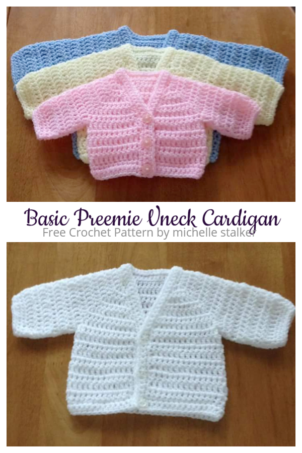 Basic Preemie V-neck Cardigan Free Crochet Patterns