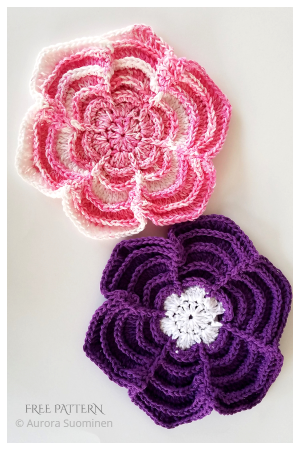 Powerful Petal Dishcloth Free Crochet Patterns