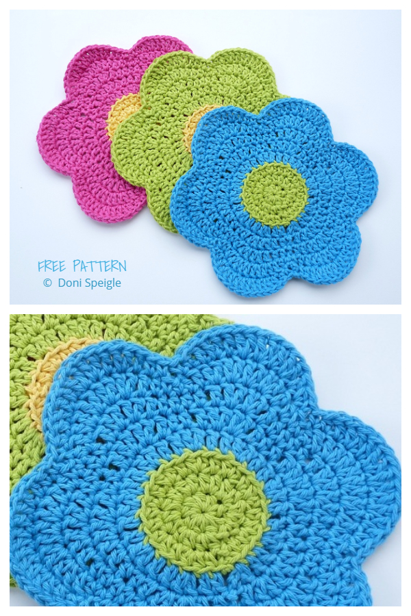 Flower Power Dishcloth Free Crochet Patterns