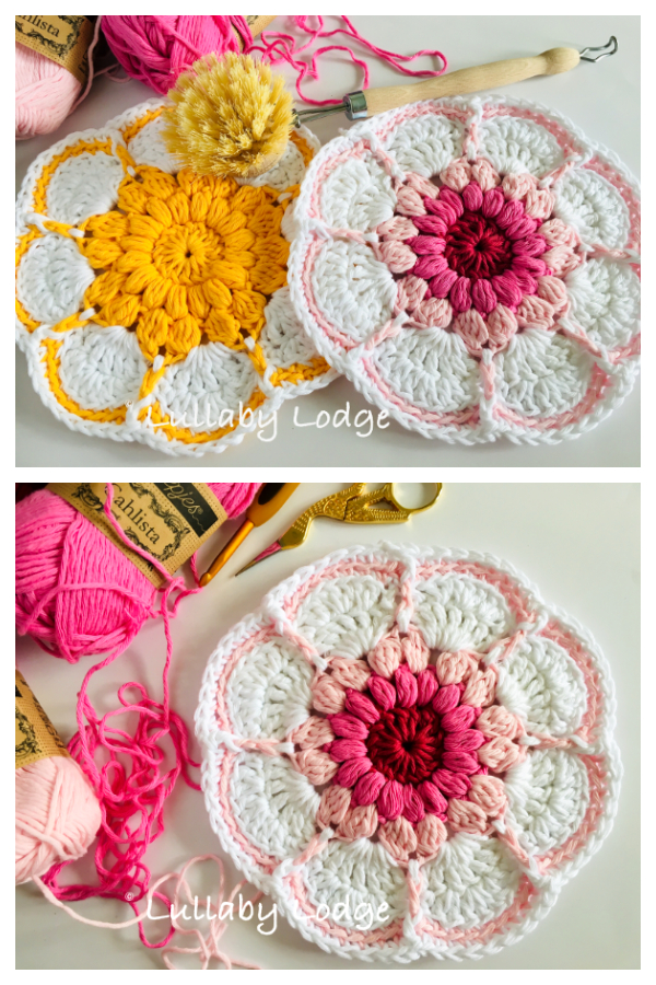Starburst Daisy Dishcloth Free Crochet Pattern