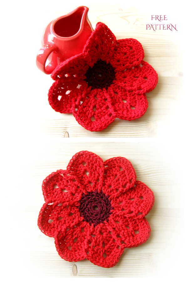 Flower Dishcloth Free Crochet Patterns