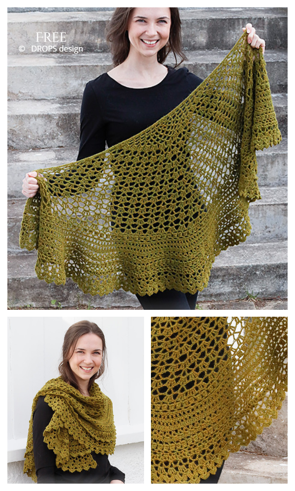Thoughts of Ireland Half Circle Shawl Free Crochet Patterns
